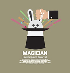 Magicians hand with rabbit in the hat vector