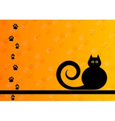 Black silhouette of cat with foot track vector
