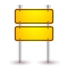 Yellow blank road sign vector