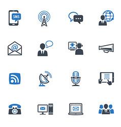 Communication icons set 1 - blue series vector