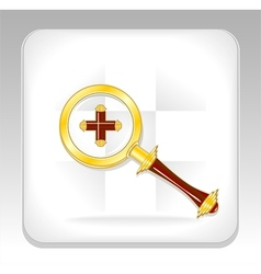 Gold magnifier icon or button with plus vector