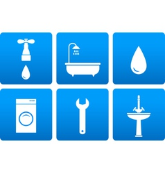 Bath objects on blue background vector