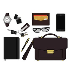 Every day carry man items businessman vector