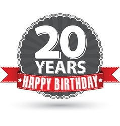 Happy birthday 20 years retro label with red vector