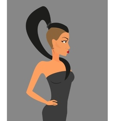 Brunette woman wearing stylish haircut vector