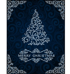 Christmas card with abstract pinetree vector