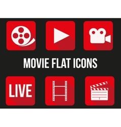 Movie square icons set vector