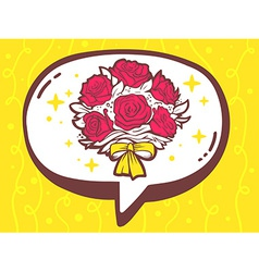 Bubble with icon of bouquet of flowers on vector