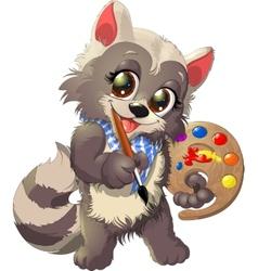Raccoon artist vector