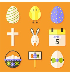 Easter icons set with shadows over orange vector