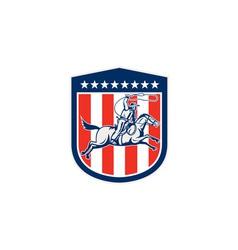 American rodeo cowboy horse lasso shield retro vector