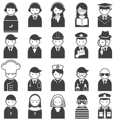 Various people symbol icons occupation set vector