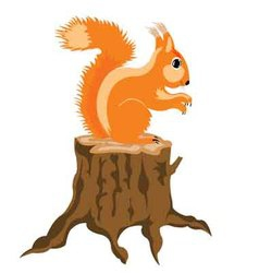 Squirrel sits on hemp vector