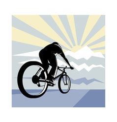 Cyclist riding bicycle with mountain vector