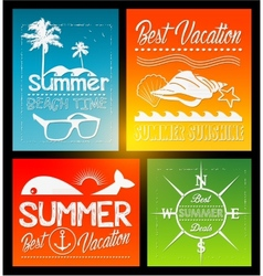 Four summer text typography vintage poster vector
