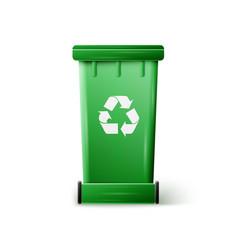 Green recycle bin vector