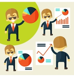 Cheerful businessman in various poses chart shows vector