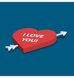 Isometric heart with love you text vector
