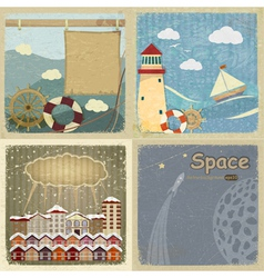 Set of vintage postcards vector