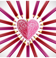 Pencils in the shape of heart vector