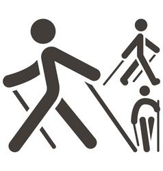 Nordic walking icons vector