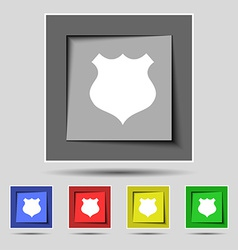 Shield icon sign on the original five colored vector