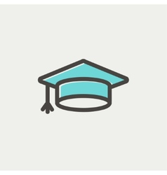 Graduation cap thin line icon vector