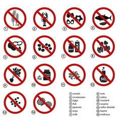 Set of typical food alergens prohibitions for vector
