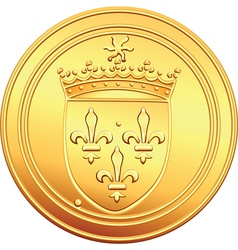 Gold coin french ecu reverse vector