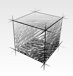 Hand drawn isolated cube vector