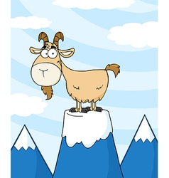 Longhorn on top of a mountain peak vector