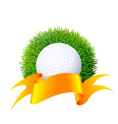 Ball for golf on green grass with gold ribbon isol vector