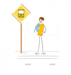 Student waiting at bus stop vector