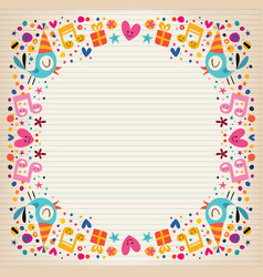 Happy birthday border lined paper card vector