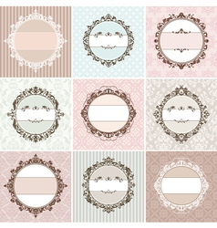 Set of vintage floral frames vector