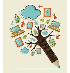 Mobile communication concept tree vector