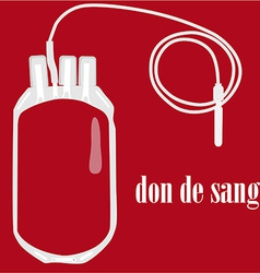 Blood bag with text blood donate vector