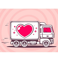Truck with heart free and fast delivering vector