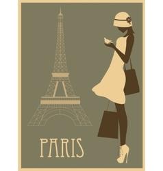 Woman in paris vector