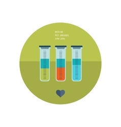 Test tube flat icon online medical diagnosis and vector