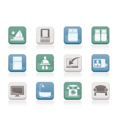 Hotel and motel room facilities icons vector