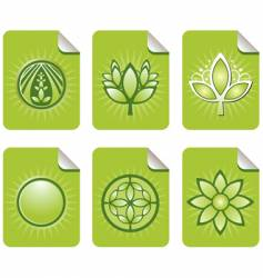 Assorted green leaf sticky notes vector