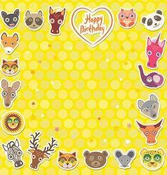 Funny animals happy birthday yellow polka dot vector