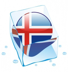 Frozen button flag of iceland vector