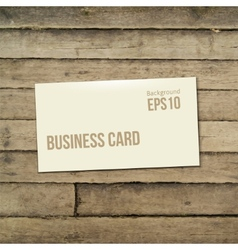 Template white business card on the wooden table vector