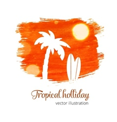 Orange watercolor splash with palm silhouette vector
