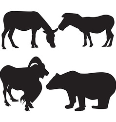 Set silhouettes of animals vector