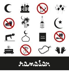 Ramadan islam holiday black icons set eps10 vector