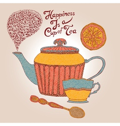 Invitation card tea cup and teapot vector