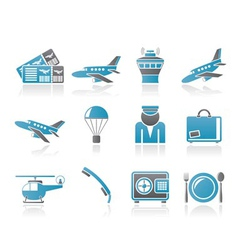 Airport and travel icons vector
